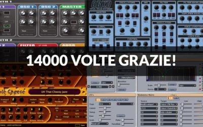 La nostra pagina Facebook ha raggiunto quota 14000 like! Festeggiamo con una selezione dei migliori synth in free download
